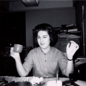 writer mom with mug